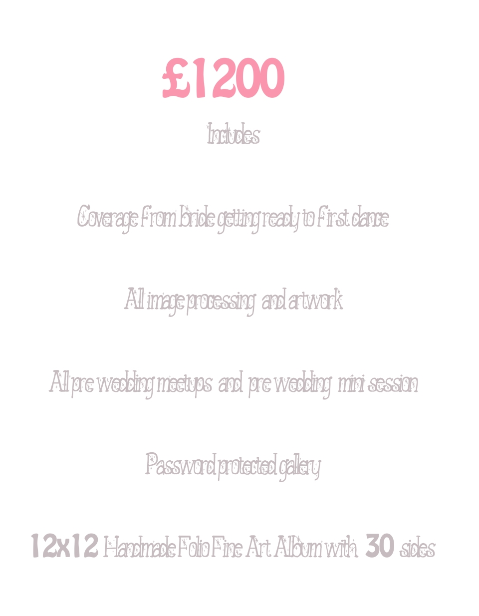 Wedding Price List £1200